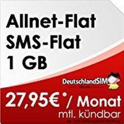 DeutschlandSIM Flat M [SIM und Micro/SIM] monatlich kündbar (1GB Daten/Flat, Telefonie/Flat, SMS/Flat, 27,95 Euro/Monat) Vodafone/Netz